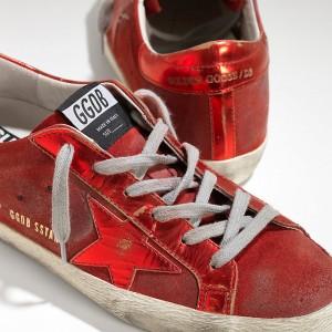 Men Golden Goose GGDB Superstar Leather In Laminata Red Mirror Sneakers