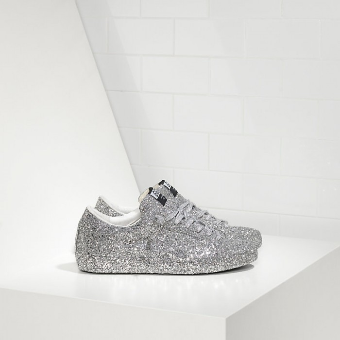 Men Golden Goose GGDB Superstar Ricoperta Silver Glitter Sneakers