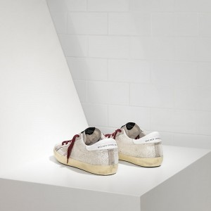 Men Golden Goose GGDB Superstar White Glitter Sneakers
