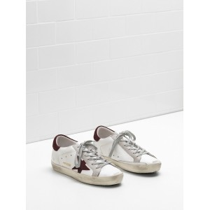 Men Golden Goose GGDB Superstar Calf Leather In Wine Star White Sneakers