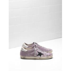 Men Golden Goose GGDB Superstar Calf Suede Purple Black Logo Sneakers