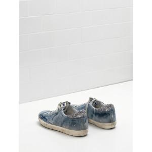 Men Golden Goose GGDB Superstar In Denim Blue Star Logo Silver Sneakers