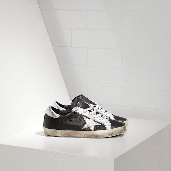 Men Golden Goose GGDB Superstar In Leather Star Black Leather Silver Sneakers