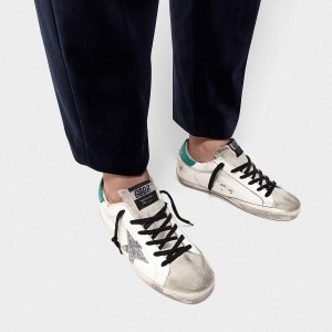 Men Golden Goose GGDB Superstar In Leather With Glittery Star Sneakers