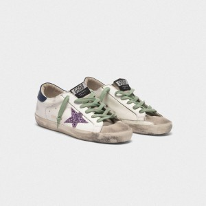 Men Golden Goose GGDB Superstar In Leather With Glittery Star Blue Sneakers