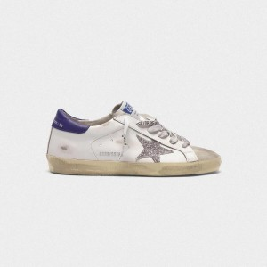 Men Golden Goose GGDB Superstar In Leather With Glittery Star Purple Sneakers