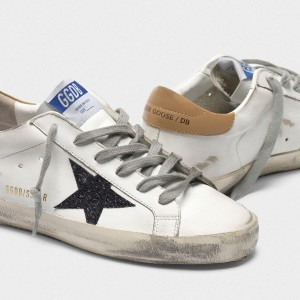 Men Golden Goose GGDB Superstar In Leather With Glittery Star Yellow Sneakers