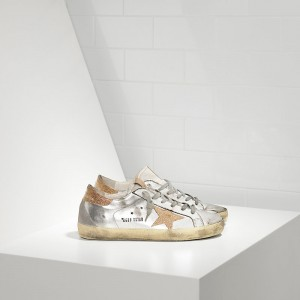 Men Golden Goose GGDB Superstar In Leather With Leather Star Silver Gold Sneakers
