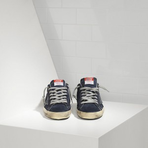 Men Golden Goose GGDB Superstar In Suede And Leather Star Blue Sneakers