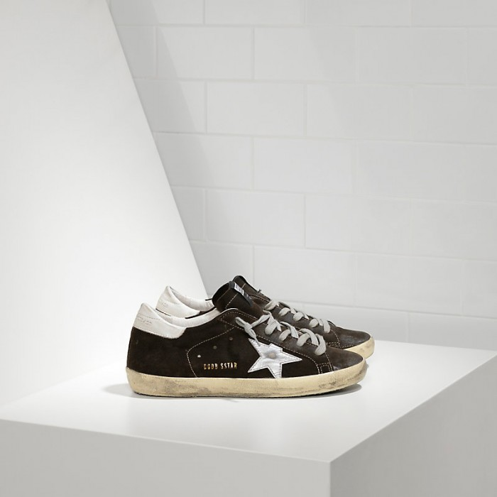 Men Golden Goose GGDB Superstar In Suede And Leather Star Coffee Sneakers