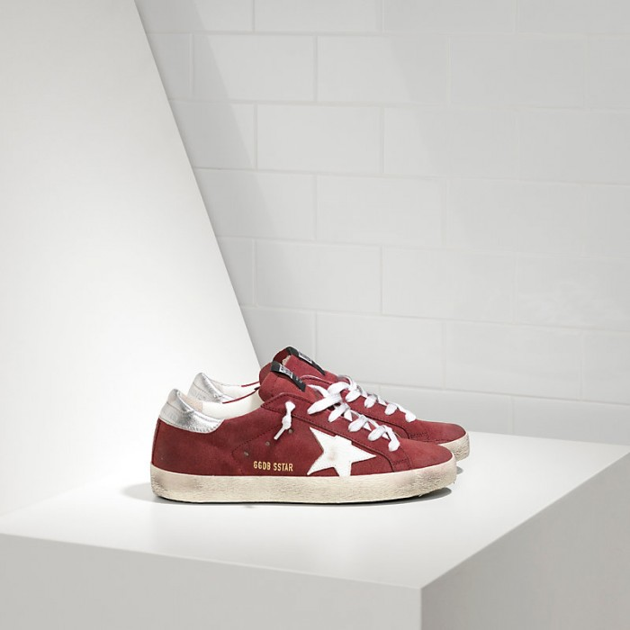 Men Golden Goose GGDB Superstar In Suede Leather Red Suede White Star Sneakers