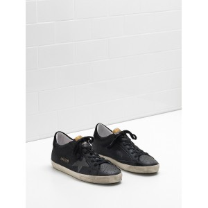Men Golden Goose GGDB Superstar In Technical Leather Star In Black Sneakers