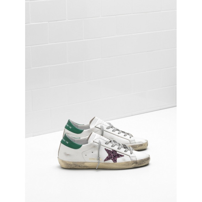 Men Golden Goose GGDB Superstar Leather Glitter Coated Star Purple Sneakers