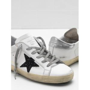 Men Golden Goose GGDB Superstar Leather Glitter Star In Black Sneakers