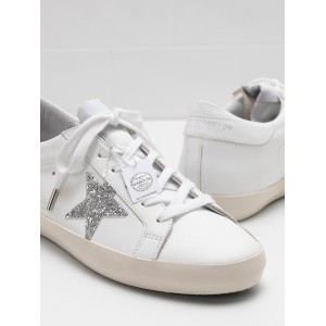 Men Golden Goose GGDB Superstar Leather Glitter Star In Laminated Silver Sneakers