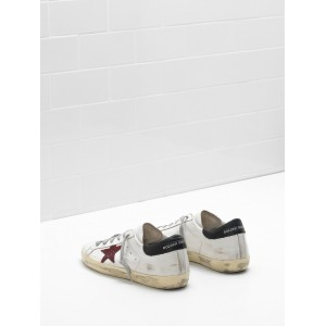 Men Golden Goose GGDB Superstar Leather Glitter Star Red Black Sneakers