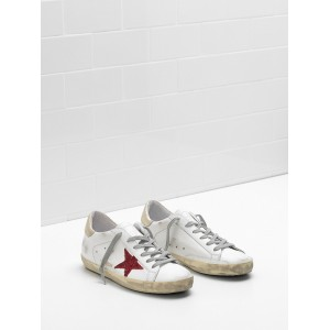 Men Golden Goose GGDB Superstar Leather In Red Star White Sneakers
