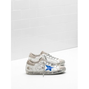 Men Golden Goose GGDB Superstar Leather Openwork Star Blue Star Logo Sneakers