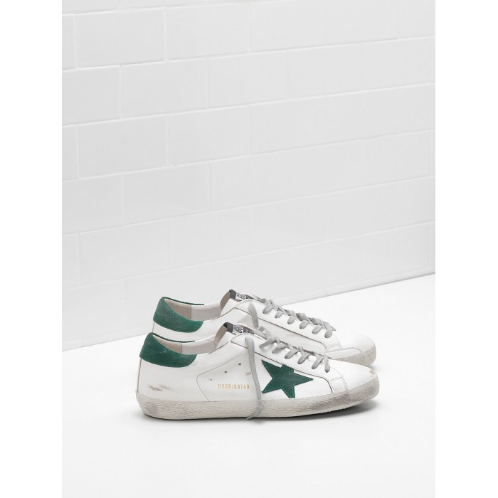 Men Golden Goose GGDB Superstar Leather Star In Green Star Sneakers