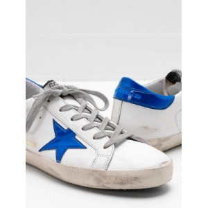 Men Golden Goose GGDB Superstar Leather Star In Shiny Blue Star Sneakers