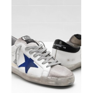 Men Golden Goose GGDB Superstar Leather Star In Suede Blue Star Sneakers