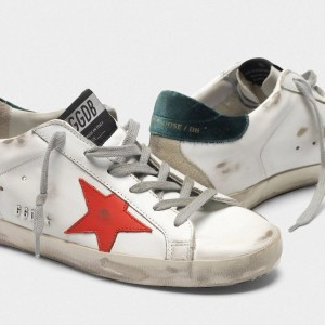 Men Golden Goose GGDB Superstar With Metal GGDB Lettering Red Star Sneakers