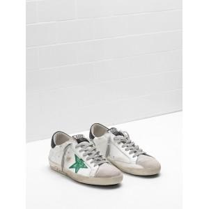 Men Golden Goose GGDB Upper In Calf Leather Openwork Star Hand Decorated Green Star Sneakers