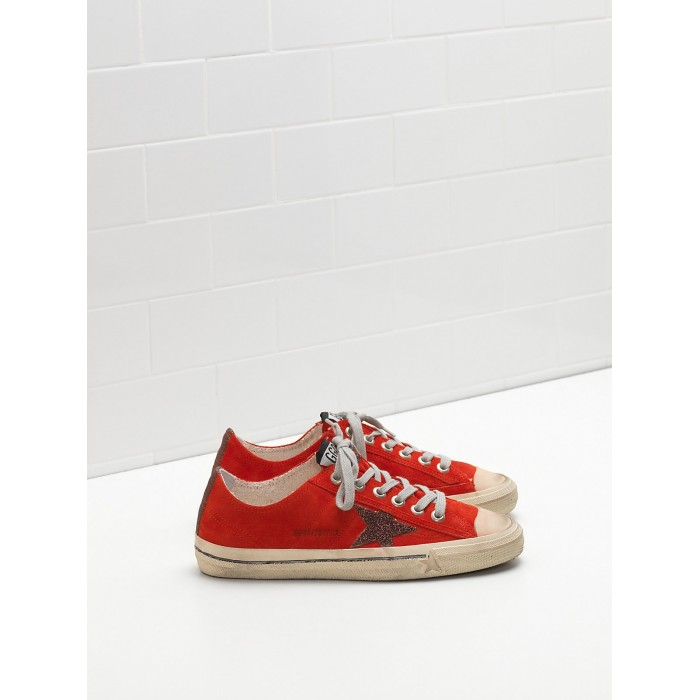 Men Golden Goose GGDB V Star 2 Calf Suede Upper Star Red Sneakers