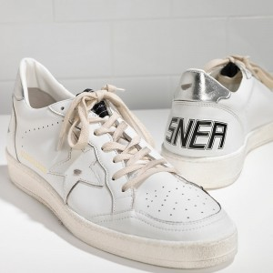 Women Golden Goose GGDB Ball Star Leather In White Silver Sneakers