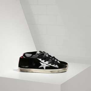 Women Golden Goose GGDB Francy Leather Star Black Suede Strawber Sneakers