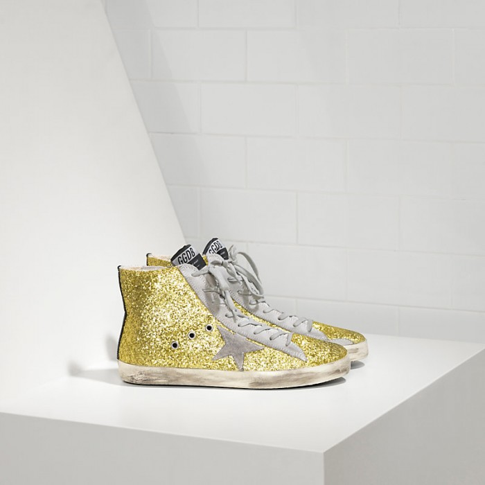 Women Golden Goose GGDB Francy All Over Glitter In Camoscio Lime Glitter Sneakers