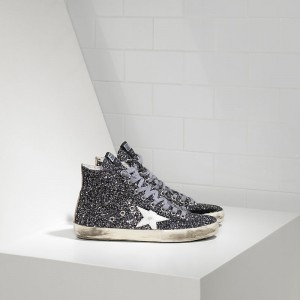 Women Golden Goose GGDB Francy All Over Glitter In Pelle Grey Glitter Sneakers