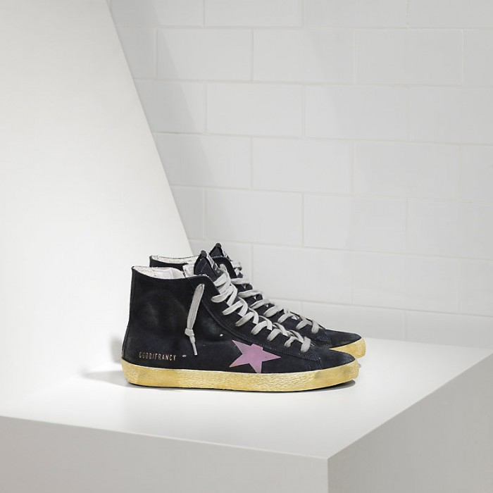 Women Golden Goose GGDB Francy In Camoscio In Blue Suede Pink Sneakers