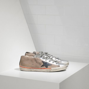 Women Golden Goose GGDB Francy In Camoscio In Pelle Skin Silver Sneakers