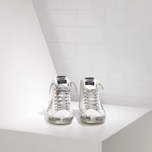 Women Golden Goose GGDB Francy Sparkle White Silver Sneakers
