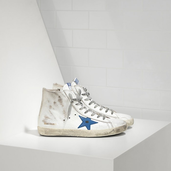 Women Golden Goose GGDB Francy White Marble Bluette Sneakers