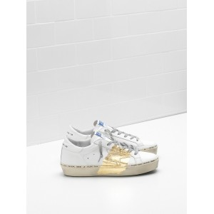 Women Golden Goose GGDB Hi Star Calf Leather 24 Carat Gold Leaf Branding Handwritten White Sneakers