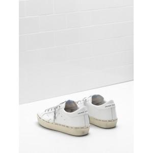 Women Golden Goose GGDB Hi Star Calf Leather 24 Carat Gold Leaf Branding Handwritten White Sneakers