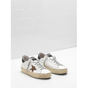 Women Golden Goose GGDB Hi Star Calf Leather Ponyskin Effect Leather Star Sneakers
