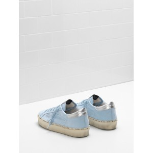 Women Golden Goose GGDB Hi Star Ciel Nabuk Leather Real Silver Sneakers