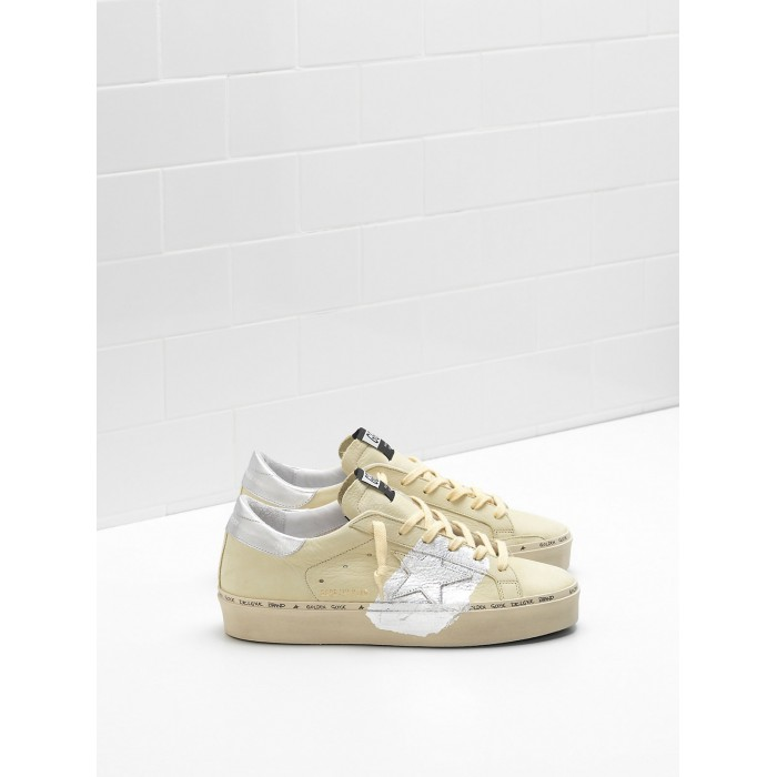 Women Golden Goose GGDB Hi Star Lemon Nabuk Leather Real Silver Sneakers