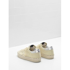 Women Golden Goose GGDB Hi Star Lemon Nabuk Leather Real Silver Sneakers