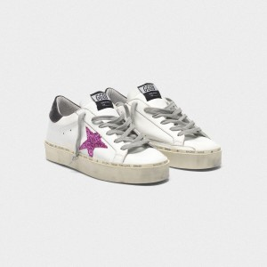 Women Golden Goose GGDB Hi Star With Pink Glitter Star And Black Sneakers