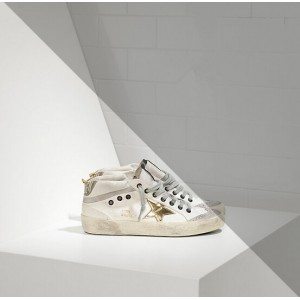 Women Golden Goose GGDB Mid Star In Leather Star White Military Gold Sneakers