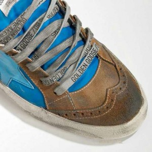 Women Golden Goose GGDB Mid Star In Blue Brown Sneakers