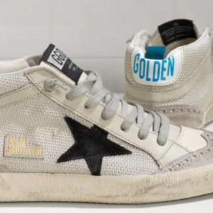 Women Golden Goose GGDB Mid Star In Tessuto Tecnico E Stella In Grey Sneakers