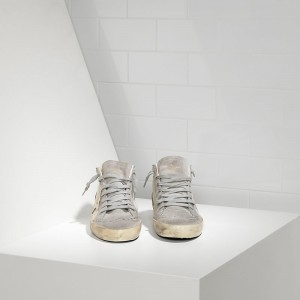 Women Golden Goose GGDB Mid Star White Gold Star Sneakers