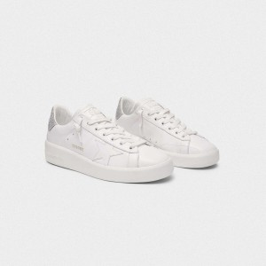 Women Golden Goose GGDB Purestar With Glittery Silver Sneakers