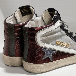 Women Golden Goose GGDB Slide In Glitter Red Balck Sneakers