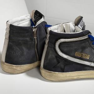 Women Golden Goose GGDB Slide In Pelle Dark Grey Suede Silver Sneakers